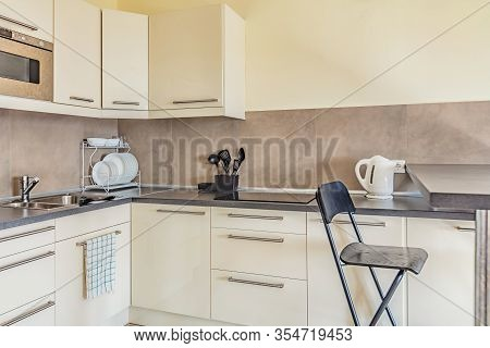 Cheap Light Small Clean Kitchen In Beige Colors