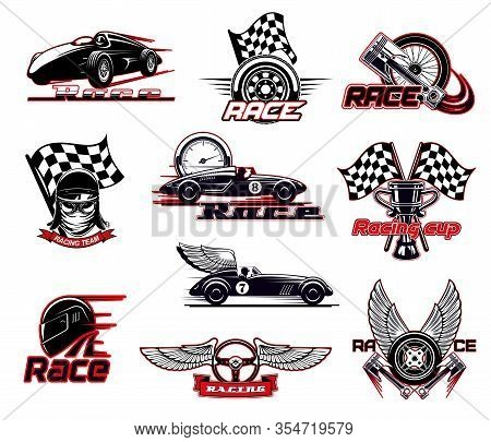 Car Race, Motor Racing Isolated Vector Icons Set. Motorsport And Racing Sport Club Emblems. Sportcar