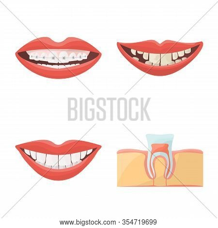 Vector Illustration Of Stomatology And Dentistry Symbol. Set Of Stomatology And Dentist Stock Symbol