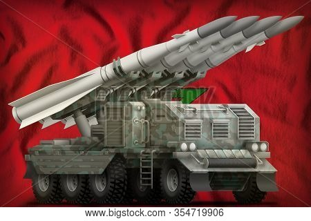 Tactical Short Range Ballistic Missile With Arctic Camouflage On The Morocco Flag Background. 3d Ill