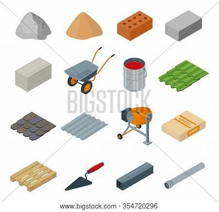 Construction Material Isometric Set Icon. Vector Illustration Building Material On White Background