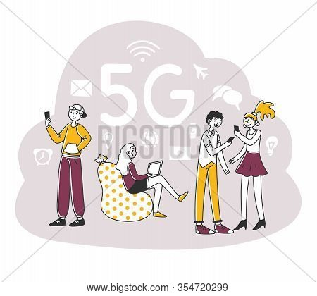 Young People Using Digital Devices. Mobile Phone Users Enjoying 5g High Speed Wireless Internet Conn