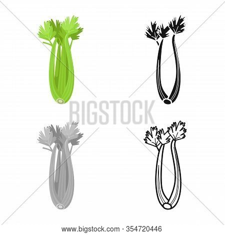 Vector Design Of Celery And Bunch Symbol. Graphic Of Celery And Stick Vector Icon For Stock.