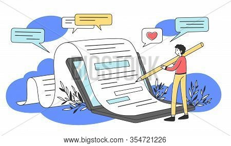 Content Author Writing Creative Article Flat Vector Illustration. Writer Typing Text For Internet Bl
