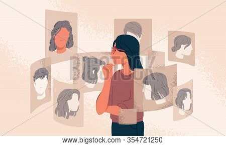 Pensive Woman Looking At Different Various Choice Hairstyle Vector Graphic Illustration. Girl Choosi
