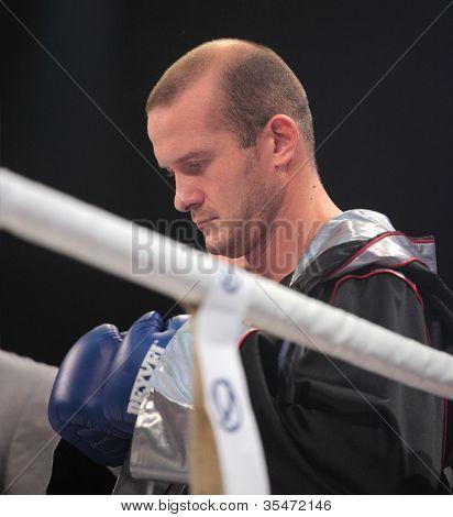 ODESSA, UKRAINE - JULY 21: Vyacheslav Uzelkov before the fight with Mohamed Belkacem for WBO Inter-Continental light heavyweight title in Odessa, Ukraine at July 21, 2012