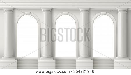 Ancient Greek Temple With Pillars. Vector Realistic Antique Building Front With White Marble Arches