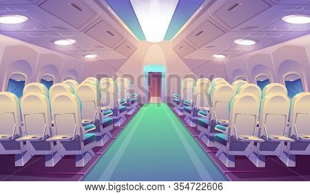 Empty Airplane Interior, Plane Salon With Chairs And Folding Back Seat Tables. Vector Cartoon Cabin
