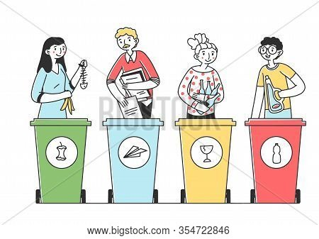 People Sorting Trash And Rubbish Flat Vector Illustration. Responsible Men And Women Standing Near D