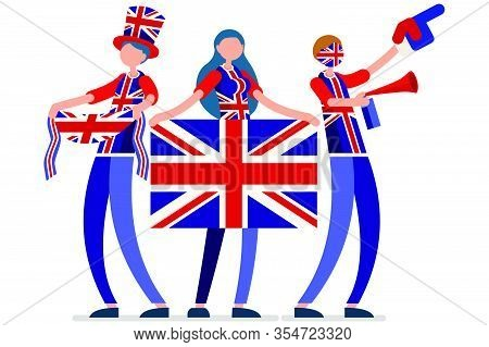 Crowd Of Persons Celebrate National Day Of Uk With A Flag. English People Celebrating A Football Tea