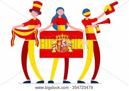 Crowd Of Persons Celebrate National Day Of Spain With A Flag. Spanish People Celebrating A Football