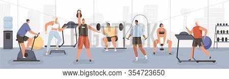 Different Cartoon People Exercising At Modern Gym Vector Flat Illustration. Athletic Man And Woman O