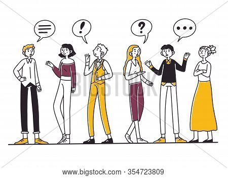 Group Of People Talking To Each Other. Men And Women Chatting With Dialog Bubbles And Gestures. Vect