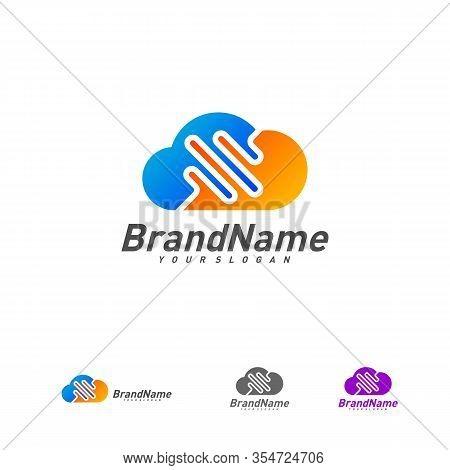 Pulse Cloud Logo Vector Template, Cloud Pulse Logo Design Concept, Icon Symbol