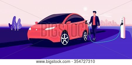 Electric Car Charging On Pink City Skyline Landscape. Vector Illustration Of Man Hand Holding Charge