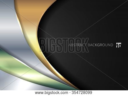 Abstract Template Shiny Golden, Silver, Green Metallic Curve Overlapping Layer On Black Background.