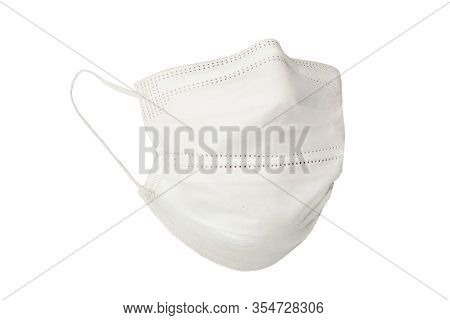 Medical Shielding Bandage Isolated Against The White Background. A White Medical Mask In The Form Of