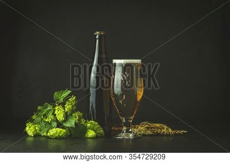 Still Life With Beer And Hop Plant In Retro Style. Glass Of Cold Foamy Beer Brown Bottle Of Beer And