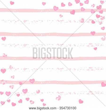 Pink Glitter Confetti With Hearts On Pink Stripes. Random Falling Sequins With Metallic Shimmer. Des