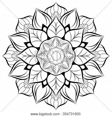 Circle Flower Of Mandala With Floral Ornament Pattern,vector Mandala Relaxation Patterns Unique Desi