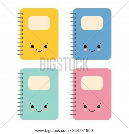 Notebook Cartoon Design, Kawaii School Expression Cute Character Funny And Emoticon Theme