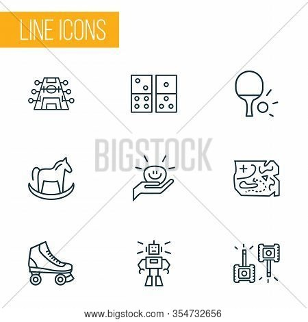 Hobby Icons Line Style Set With Table Tennis, Domino, Stress Ball And Other Ping Pong Elements. Isol
