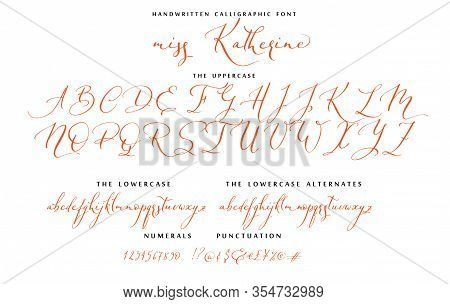 Callygraphic Miss Katherine Hand Drawn Script Font Set With Uppercase, Lowercase Letters Numbers, Pu