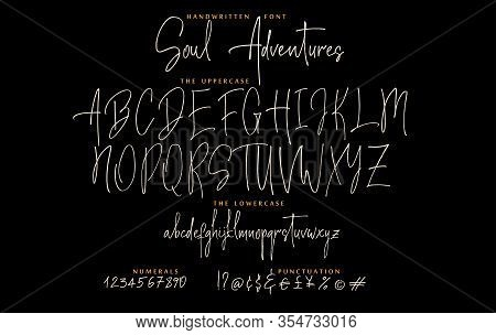 Soul Adventures Hand Drawn Script Font Set With Uppercase, Lowercase Letters Numbers, Punctuation On