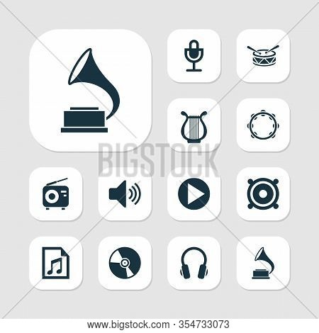 Multimedia Icons Set With Gramophone, Microphone, Speaker And Other Sound Elements. Isolated Vector