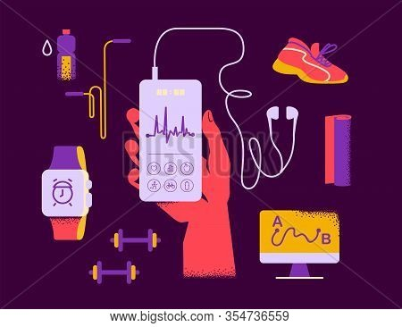 Fitness Equipment - Sport Outfit, Hand Hold Smartphone With Fitness App Interface, Earphones, Smart
