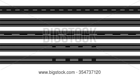 Road Track With Marking Line. Collection Road Track With Different Marking Lines. Road. Vector Illus