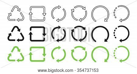 Recycle Symbol Collection. Recycled Flat And Linear Design. Recycle Black And Green Vector Icons In