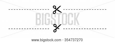 Scissors. Scissors With Cut Lines, Isolated On White Background. Scissors Different Shapes. Scissor
