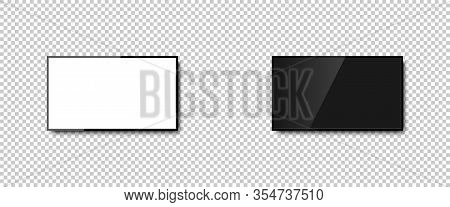 Tv With Different Screens. White And Black Screen In Television. Tv Monitor Screen With Shadow, Isol