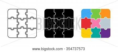 Puzzle Collection. Puzzle Pieces Different Color And Design. Puzzle Jigsaw, Isolated On White Backgr