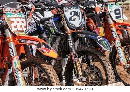 SEMIGORJE, RUSSIA - JULY 22: Bikes at Grand Prix of Russia of FIM Motocross World Championship MX1 and MX2 Series on July 22, 2012 in Semigorje, Russia