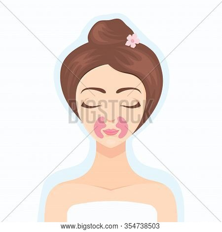 Beautiful Girl Takes Care Of Her Face With A Collagen Patch. Collagen Cosmetics. Cosmetic Procedure