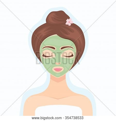 Beautiful Girl Performs A Cosmetic Procedure Using A Green Collagen Face Mask. Cosmetic Product. Col