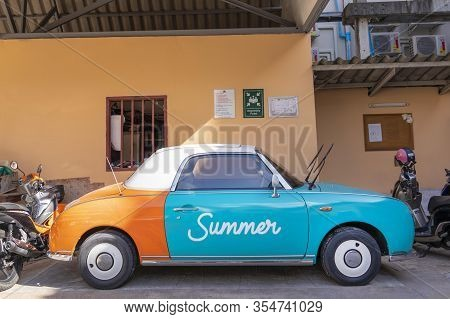 Patong, Phuket Thailand, January 5, 2020: Funny Little Car With The Inscription Summer, Standing In