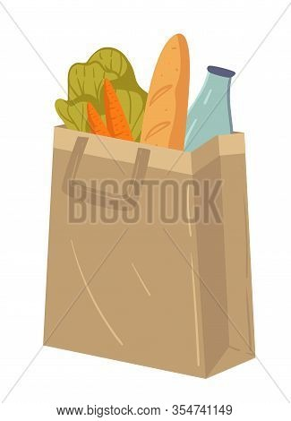 Supermarket Food In Paper Package Or Fabric Bag, Grocery Shopping