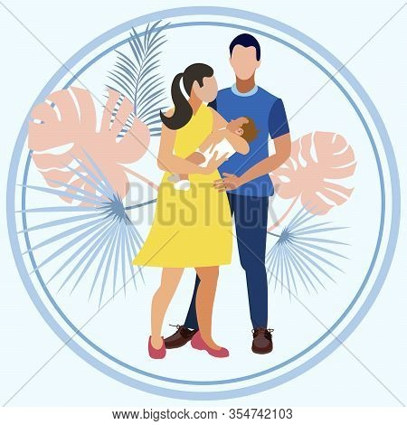Discharging From Maternity Hospital. Young Parents Are Holding A Baby In Their Arms. In Minimalist S