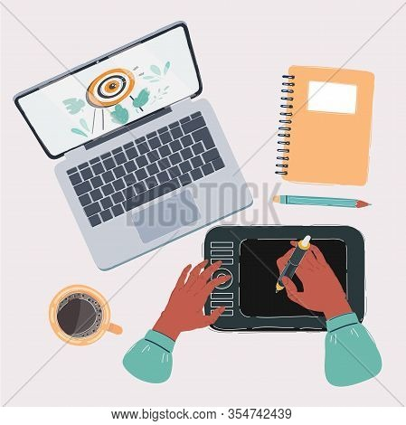 Disigner Or Cg Artist Working Place Top View. Digitizer, Tablet, Notebook, Pencil