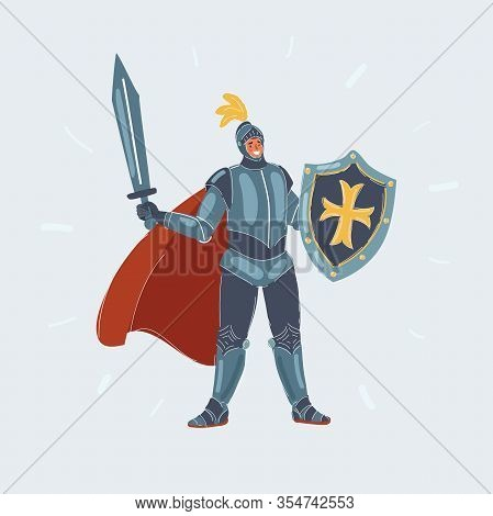 Illustration Of Knight Man In Armor With Sword And Shield