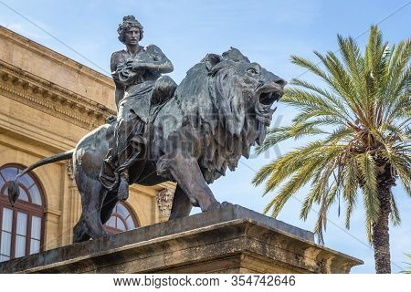 Statue Of Melpomene - Muse Of Tragedy In Front Of Teatro Massimo Vittorio Emanuele Opera House In Pa