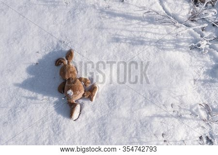 An Abandoned Or Lost Ivy Bunny Toy Lies On The Snow. Copyspace. Children Lose And Throw Toys. Allego