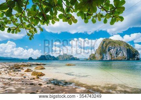 El Nido, Palawan, Philippines. Nature Scenery Of Pinagbuyutan Island And Beautiful Tropical Seascape