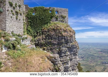 Ruined Walls Of Norman Castle Called Venus Castle In Erice, Small Town Located On A Mountain Near Tr