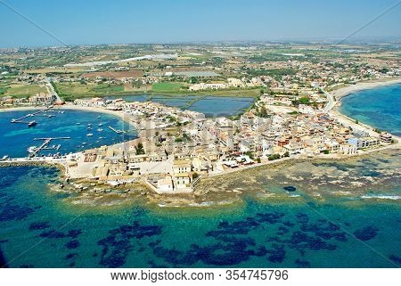Aerial View Coastline Of Marzamemi In Sicily