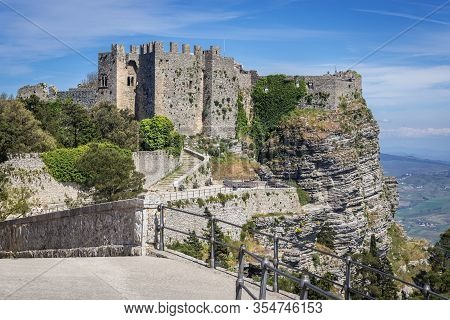 Ruins Of Norman Castle Known As Venus Castle In Erice, Small Town Located On A Mountain Near Trapani