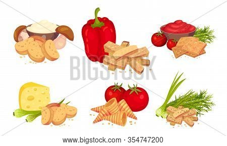 Croutons With Various Flavours Arranged With Products Like Bell Pepper And Cheese Vector Set